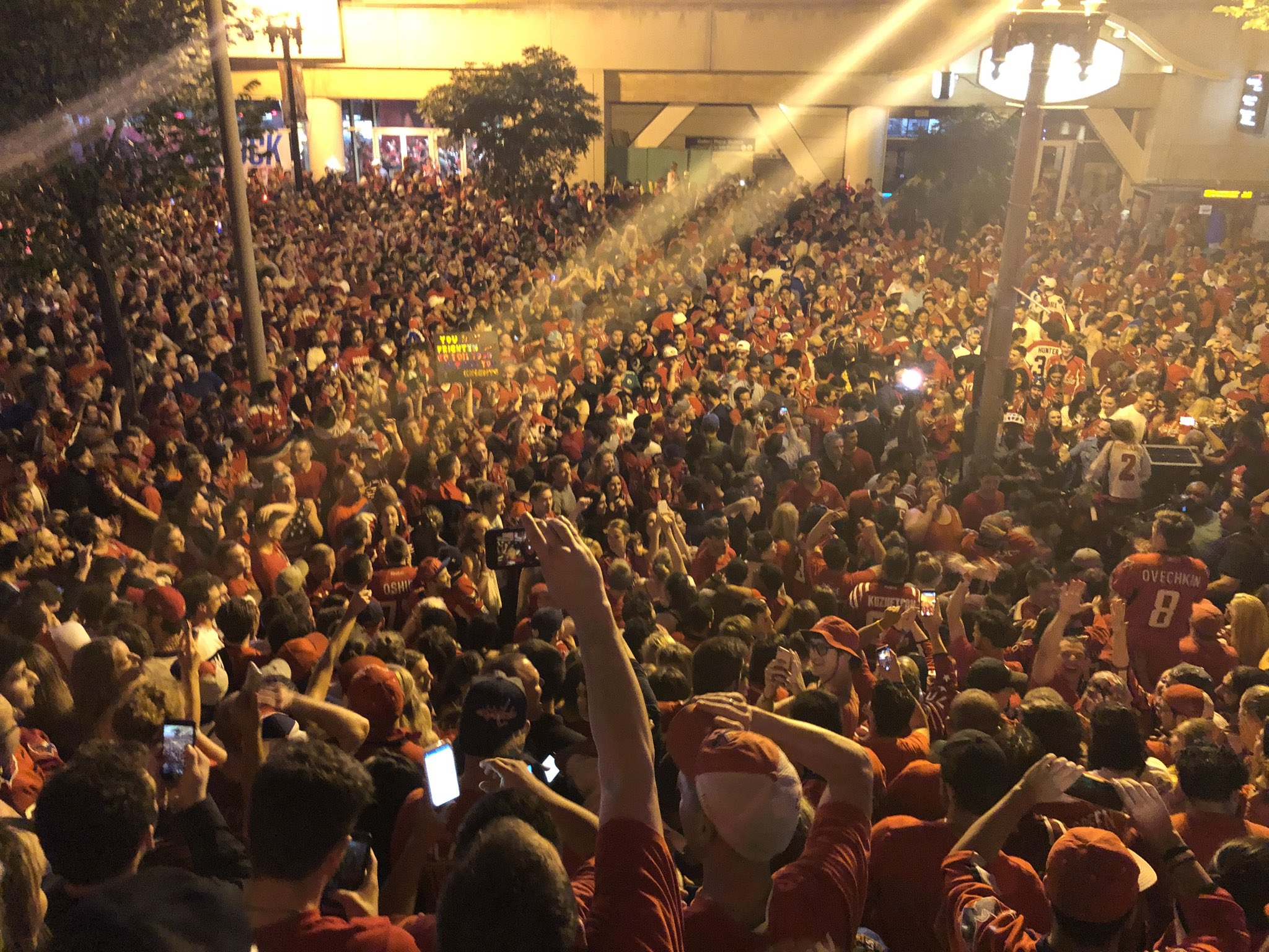 The scene in Chinatown after Game 3 of the Stanley Cup Finals.