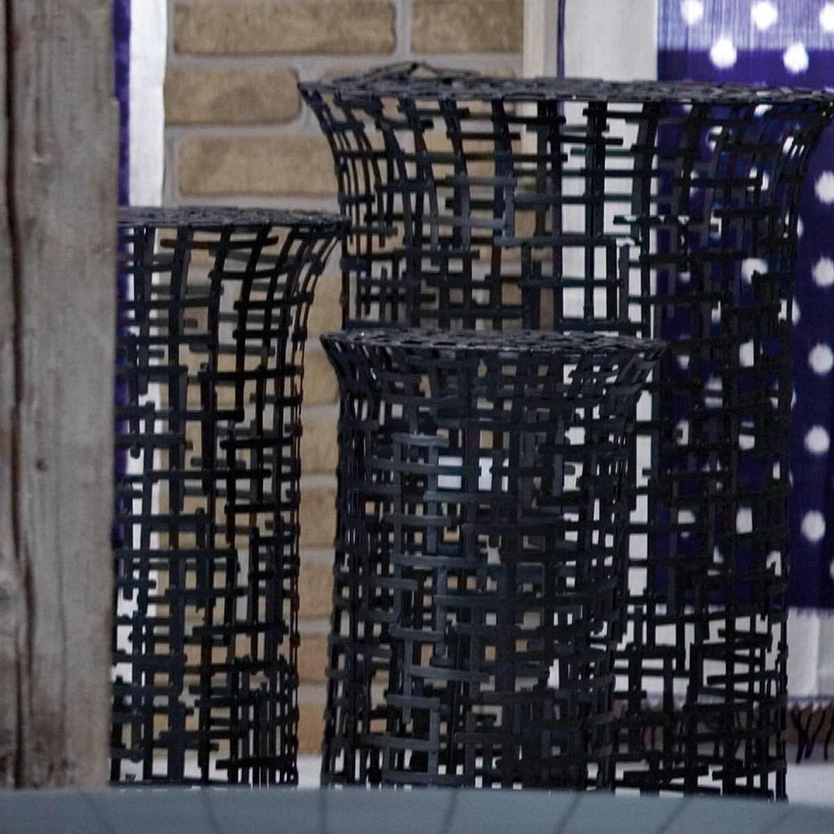 gervasoniirony 50/60/70 - Side table in handwoven steel plate.