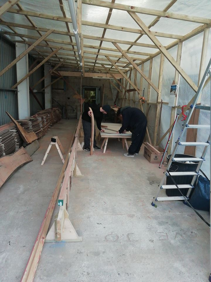March 26th Progress on the Cornish pilot gig build by Peter Martin, his grandson Dylan and friend Patrick. This week sorting out the stem of the gig and fixing to the keel. .jpg