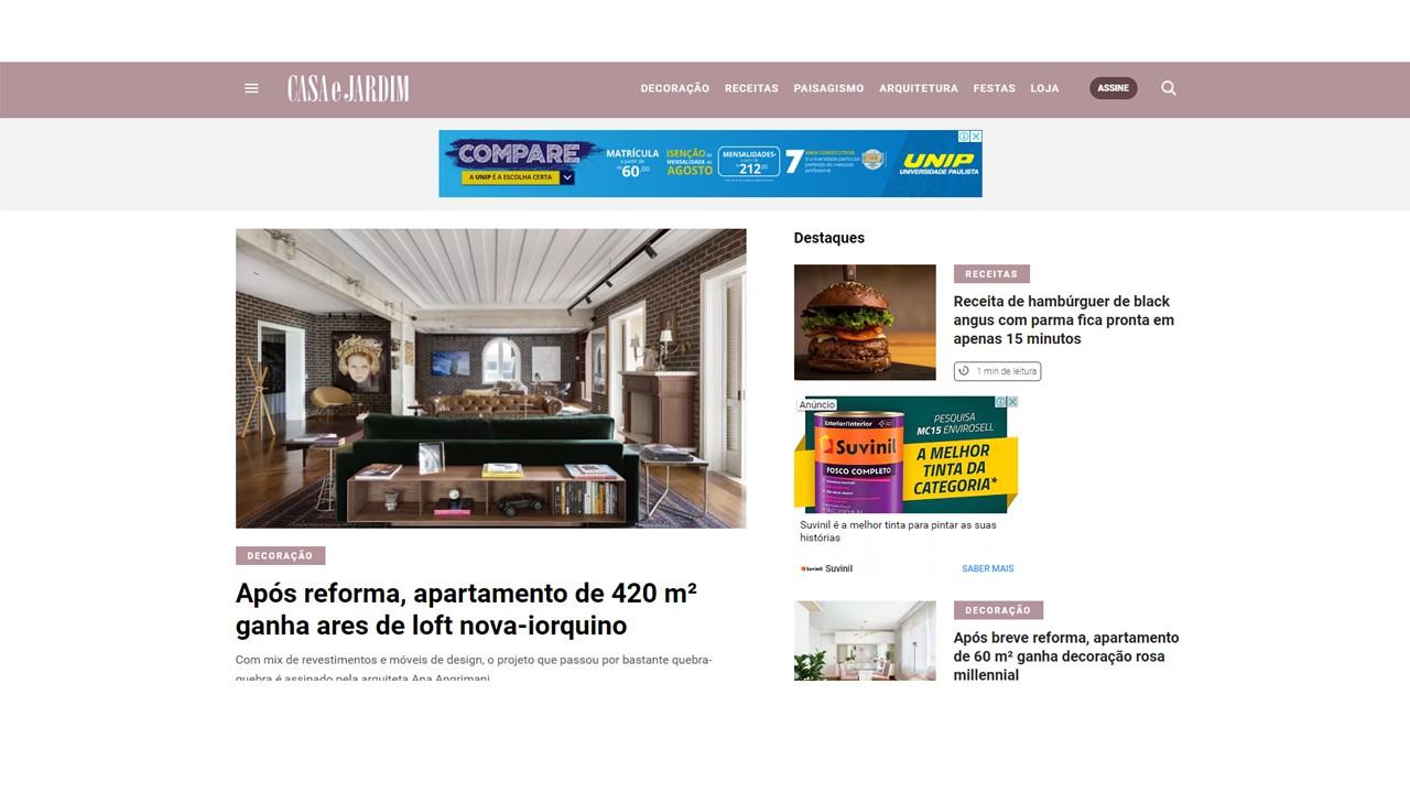 Projeto Cristóvão publicado na capa do site da revista Casa e Jardim - 08/2018  Link:  https://glo.bo/2Z1Bv84