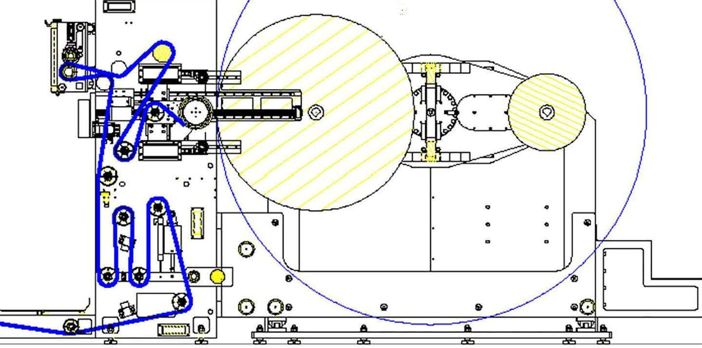 Web Path illustration of turret unwind and rewind with servo motor web control precision for flying splice accuracy