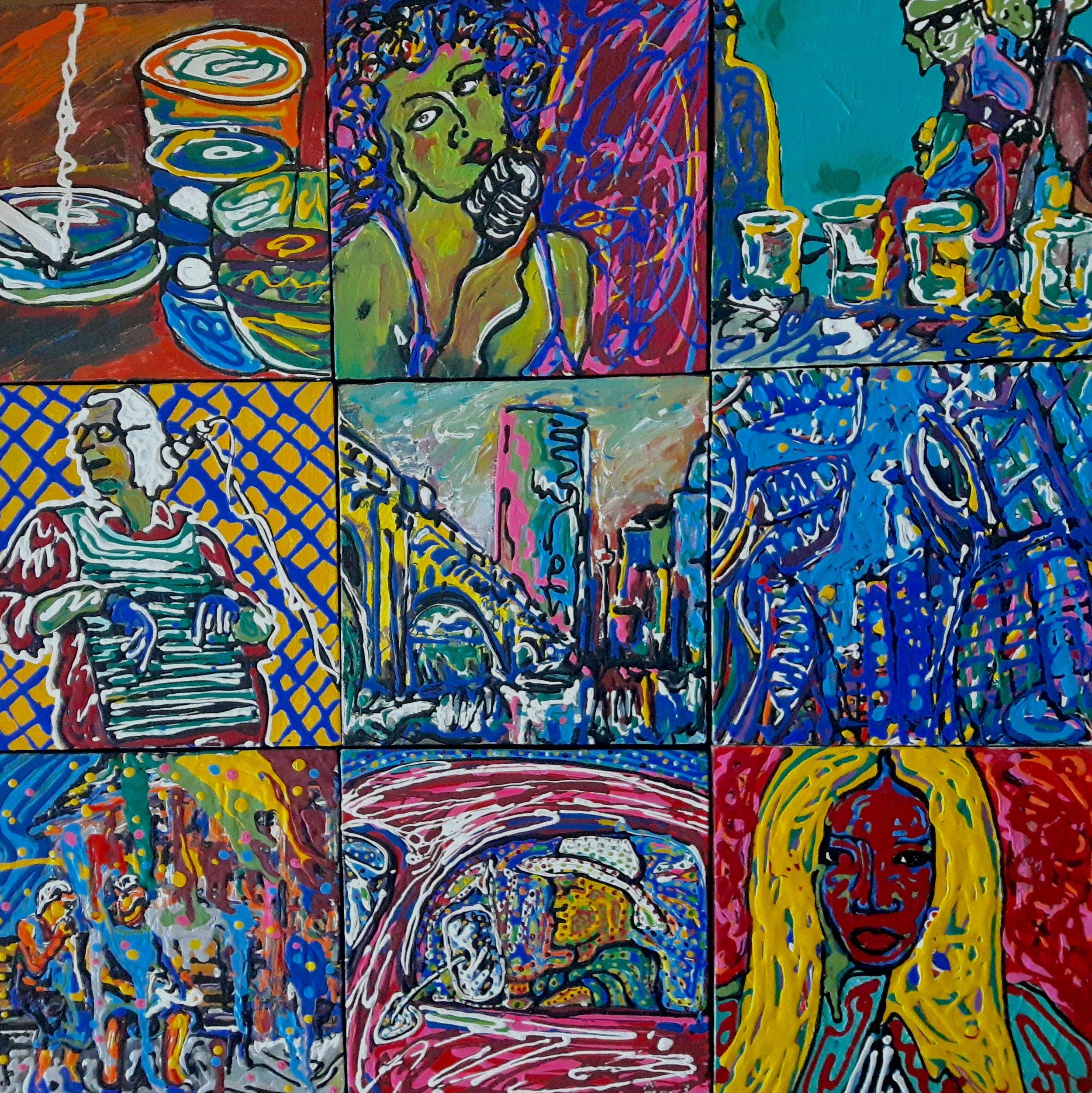 9 Days, 9-12x12 canvas panels