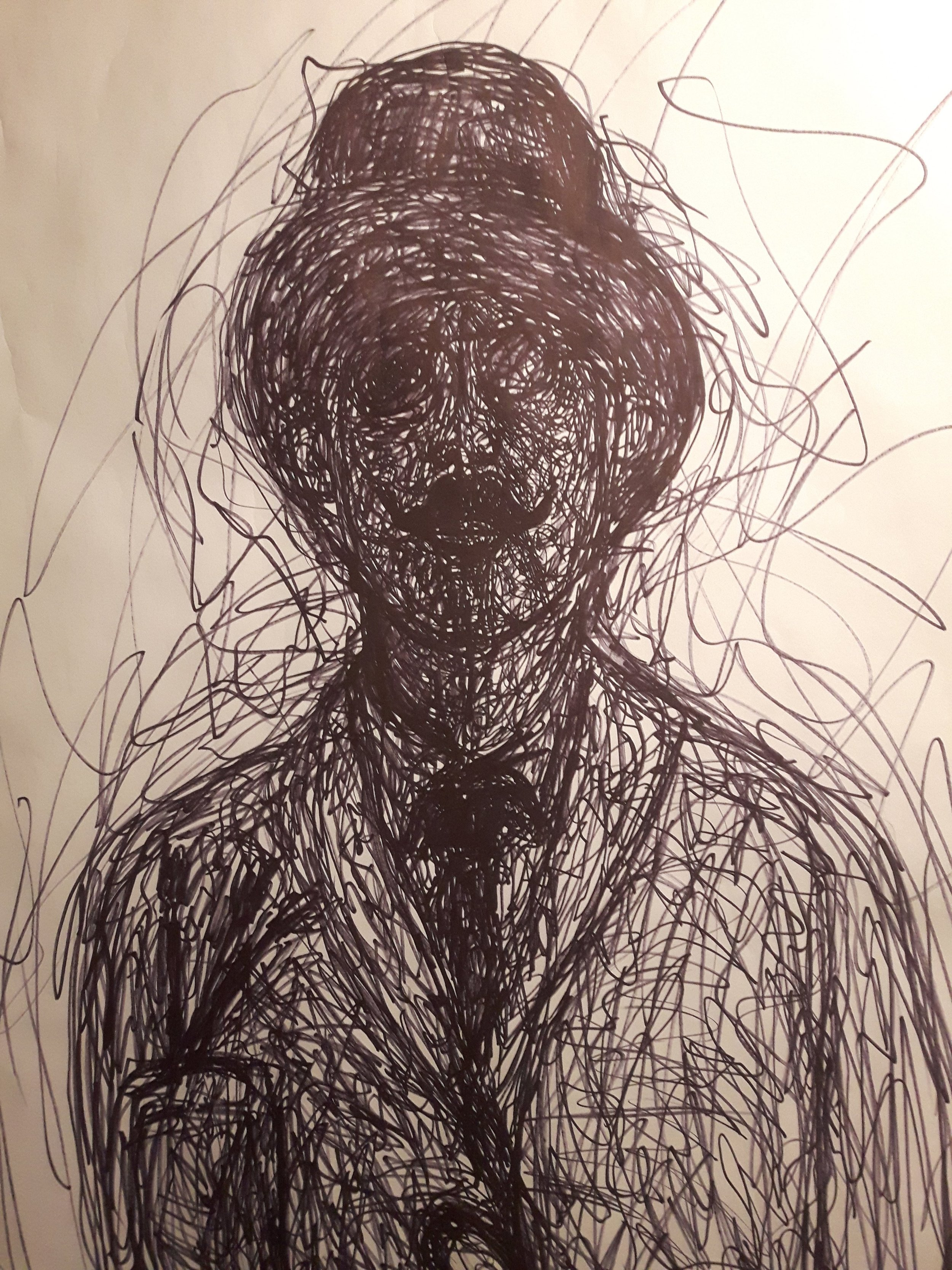 Larger than life drawing of Grudman 7x5 Ft