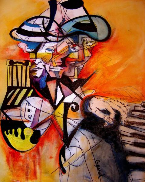 The Piano Player, 2005, oil and pastel on paper, 30x36