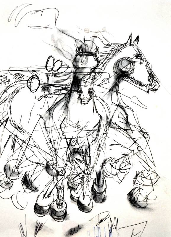Horses, 2001, pen and ink on paper.