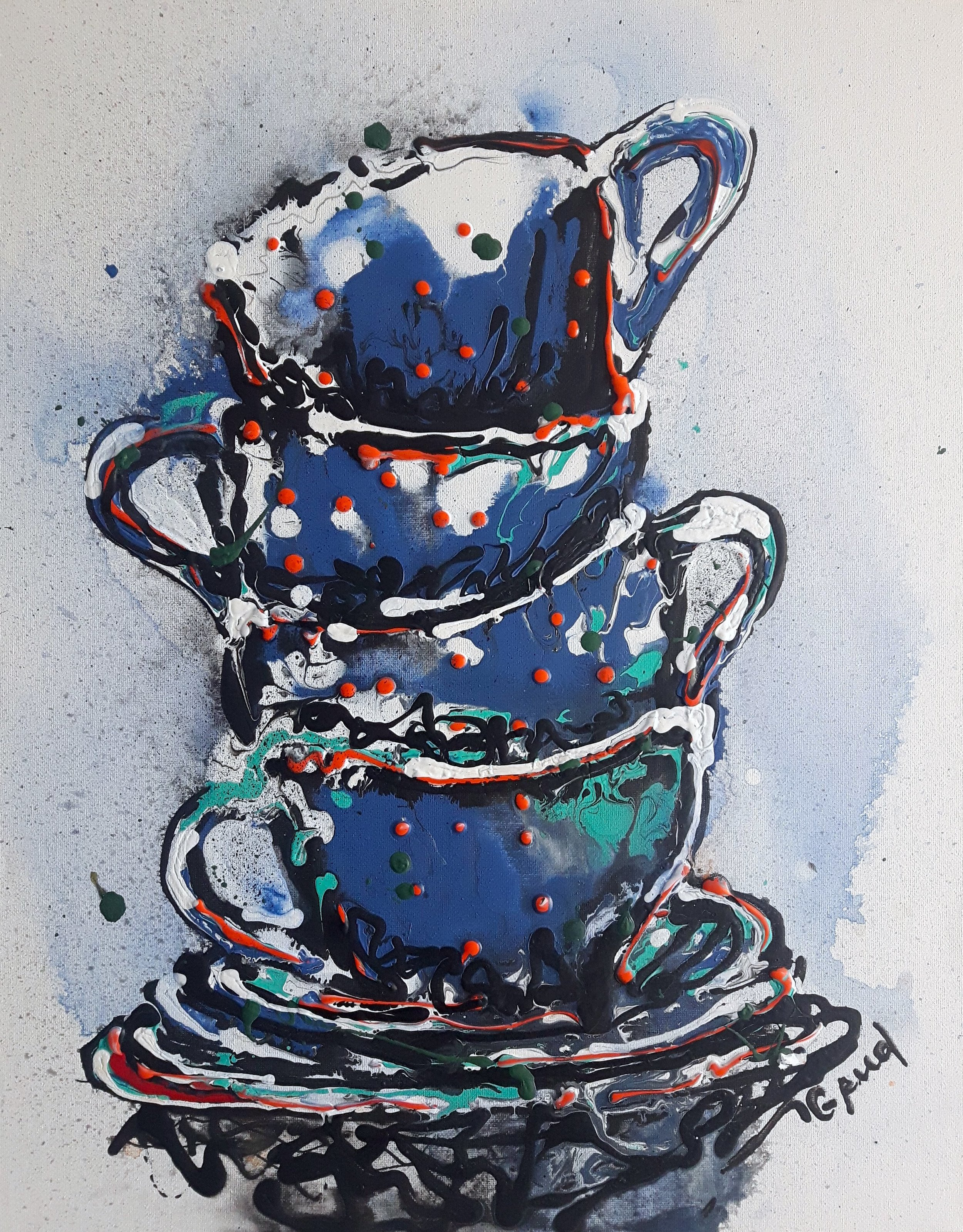 Cappuccino Cups, 20x16, Acrylic/Canvas