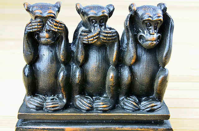 hear no evil, see no evil, speak no evil is the cowardly attitude of the church toward narcissist abusers