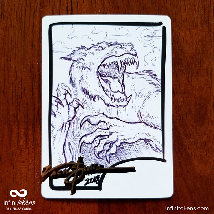 - Meeting your favorite artist at a convention? Commission them to draw on an InfiniToken with a regular or artists pen and voila! You have a permanent, high quality, perfectly sized token ready to go into your deck box and impress your friends.This token is by the talented Magic artist Zack Stella, courtesy of Weirdcards Charitable Club.