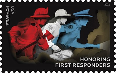Honoring our heroes - New first responder stamp to be released by USPS on Sept. 13th, 2018 - The stamp, which features three first responders racing into action, was designed to recognize