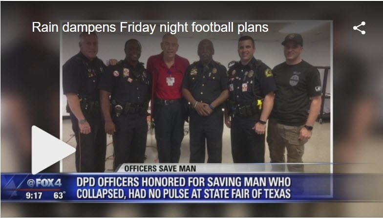 Officers' quick actions save State Fair worker's life - Dallas police officers were honored for saving a life while on duty at the State Fair Classic game at the Cotton Bowl on September 29.Click here for the video.