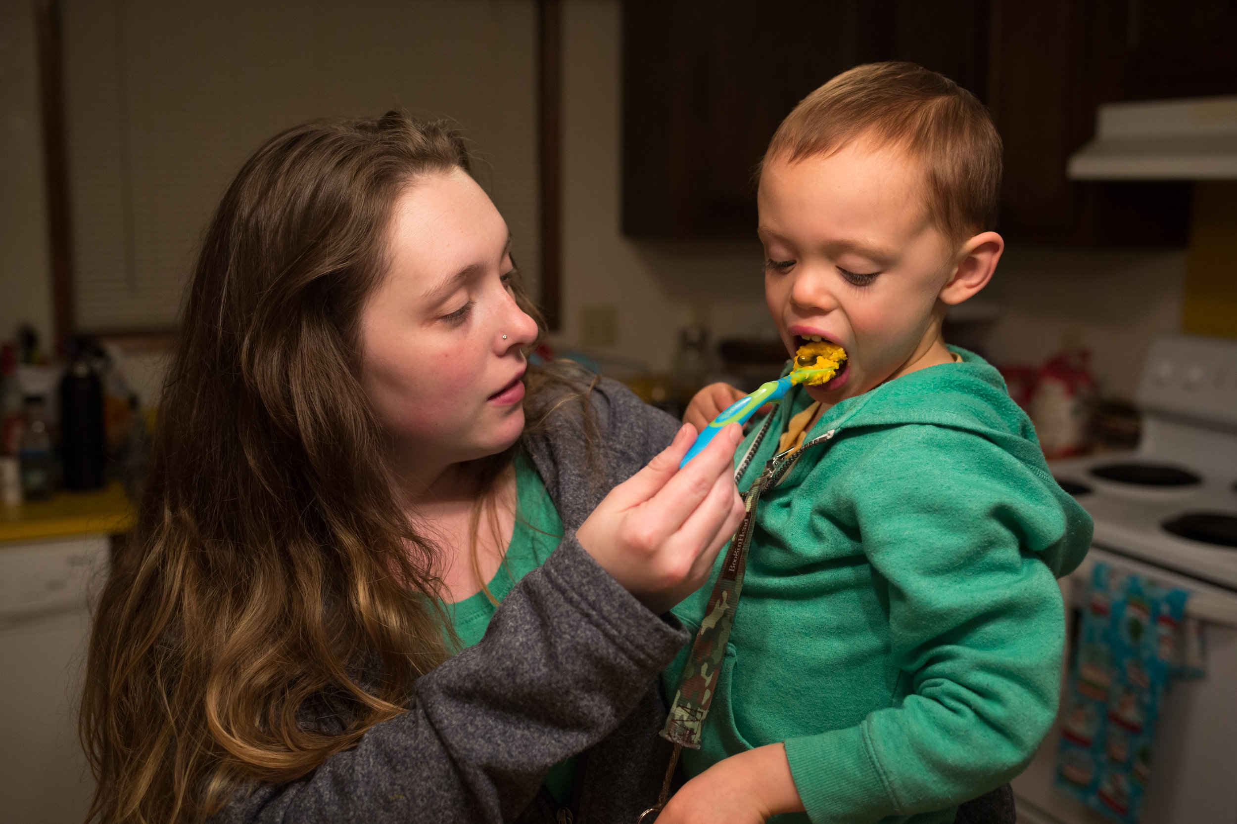 """After dinner, Paige gives James his medicine in the form of a cannabis oil filled capsule. James takes about 45mg of CBD and THC/THCA oil throughout the day. The CBD helps reduce his seizures while the THC and THCA helps regulate his emotions and impulse control. """"He is more able to recognize his own body and calm it down,"""" Paige said."""