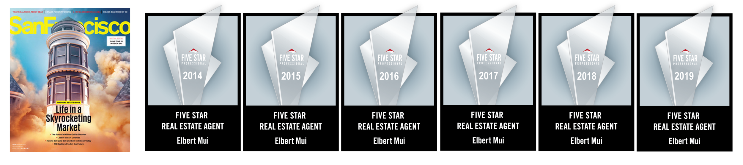 Elbert has been recognized multiple times for awards as a top producer and Five Star Real Estate Agent (as featured in San Francisco Magazine).