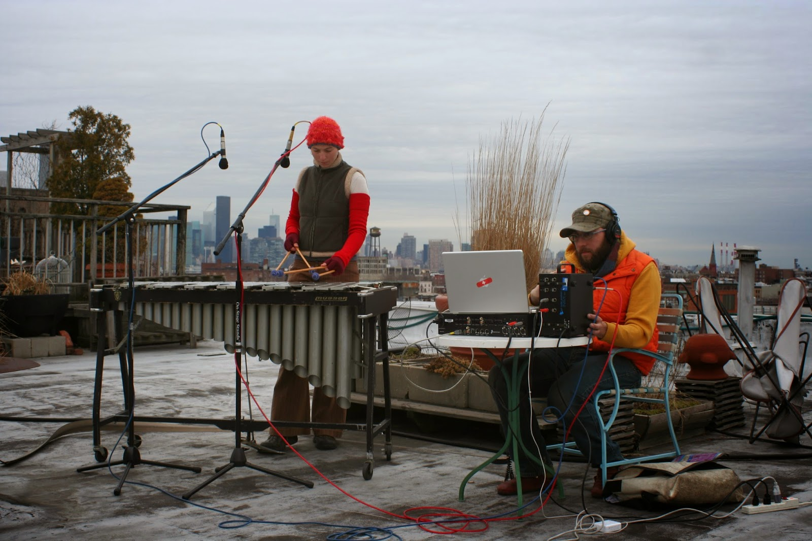 Rae and Jon recording on a rooftop in Brooklyn, NYC..