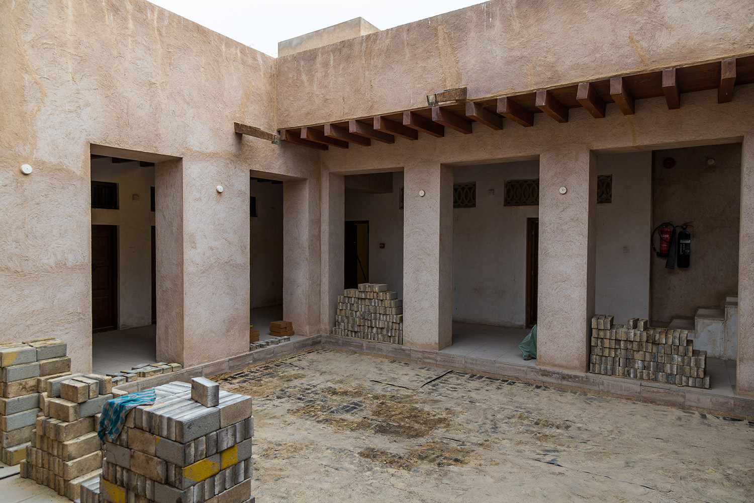 Deinstalling artwork, 2017  Courtyard, House 33, Al Fahidi Historical Neighbourhood, Dubai