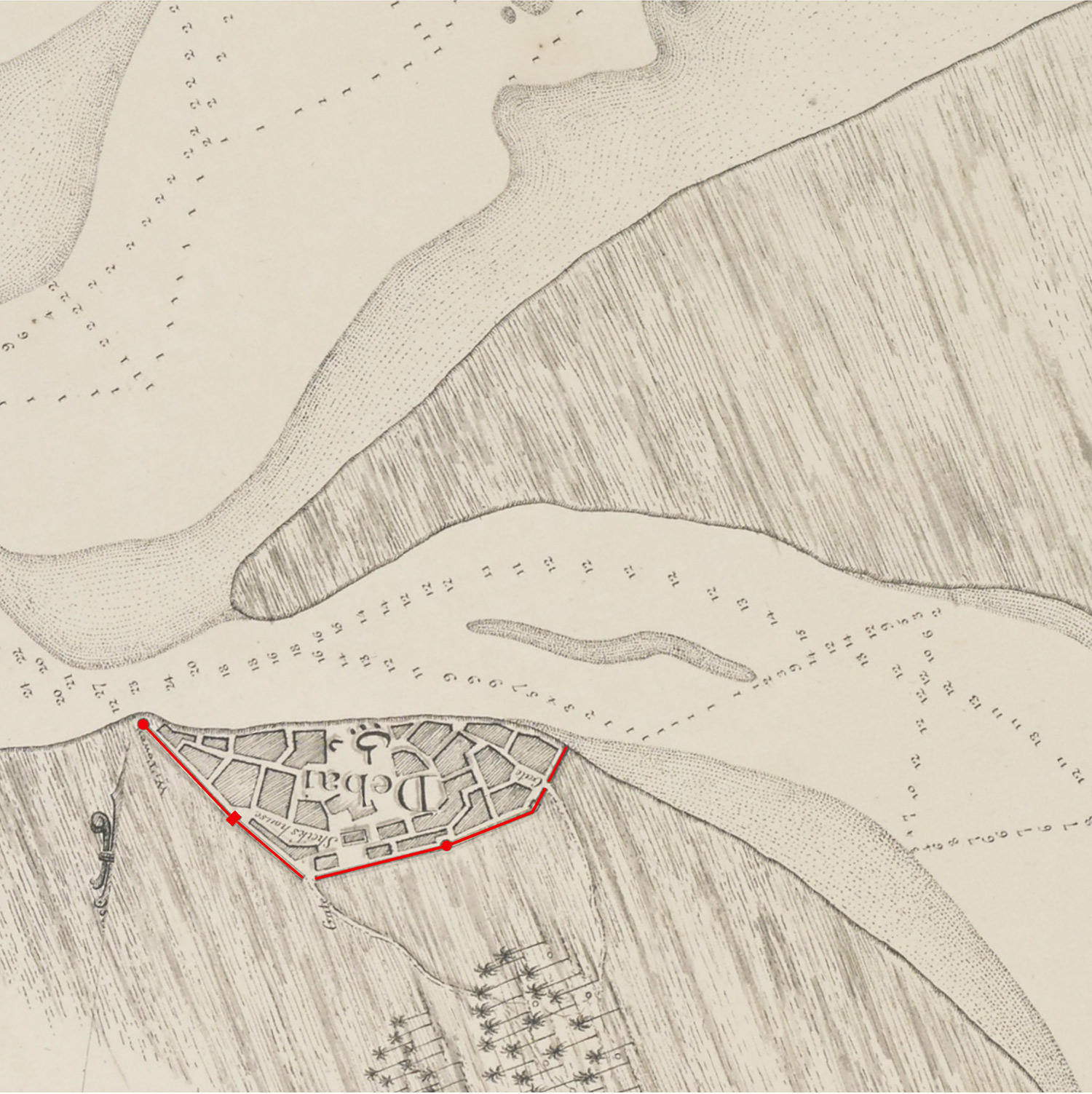 Map detail from 'Trigonometrical Plan of the Back-water of DEBAI' by Lieut. R. Cogan's map, 1822  Highlighted in Red is the historic Path of Boundary wall around 'DEBAI', Source: http://www.sheikhmohammed.com