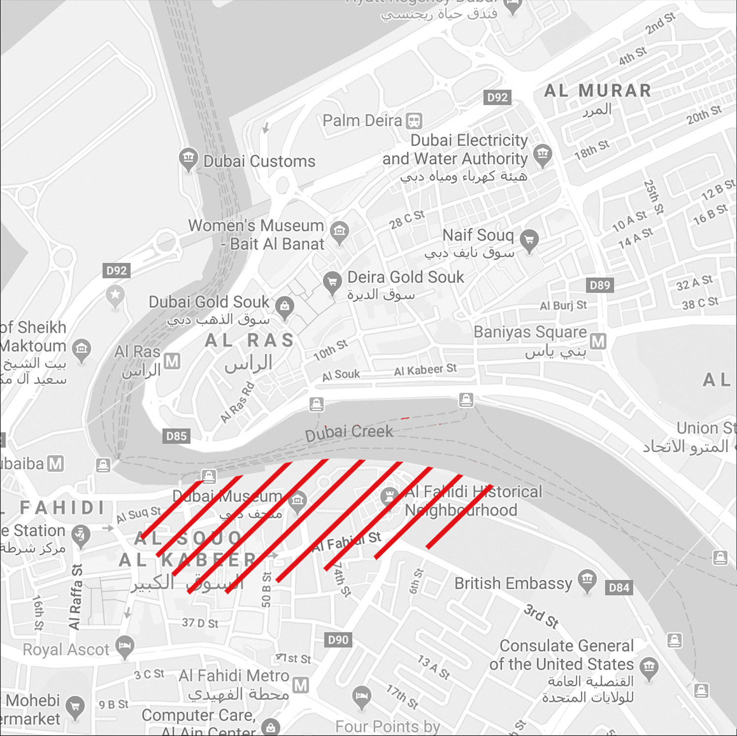 Modern day map of Bur Dubai  Highlighted in Red is the approximate area enclosed by the Historic Boundary wall  Image source: Google Earth