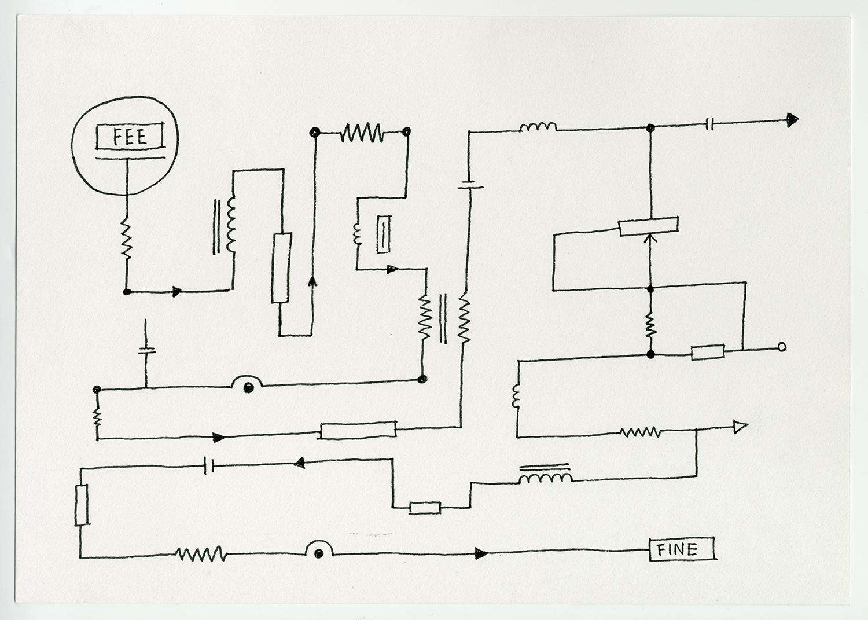 Fee Transfer , 2017  Ink on acid free fine grain paper 21 x 29.7 cm