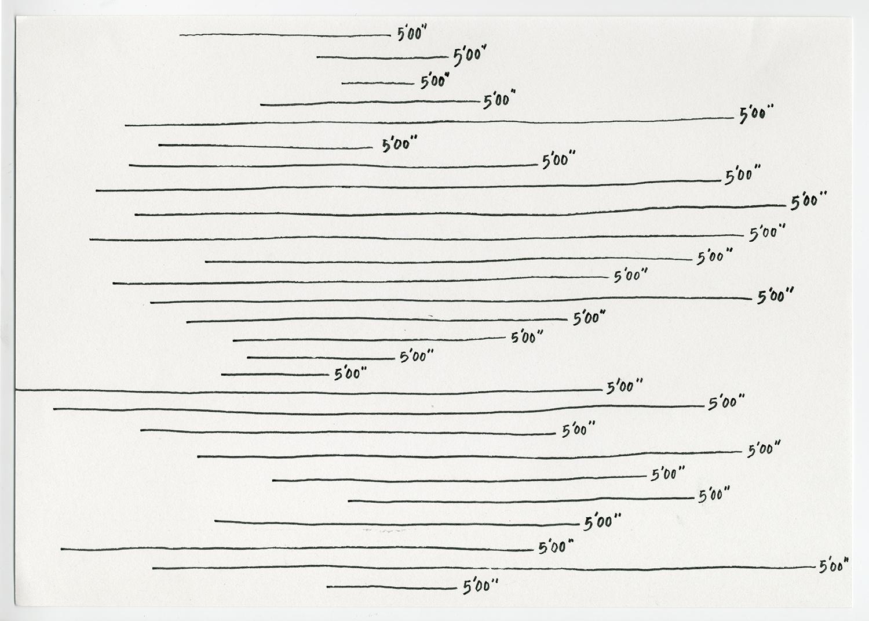 5 minutes , 2017  Ink on acid free fine grain paper 21 x 29.7 cm