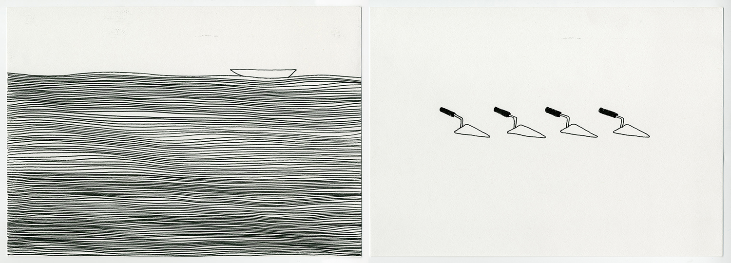 Fisherman's Song , 2017 Ink on acid free fine grain paper Diptych: 21 x 29.7 cm each