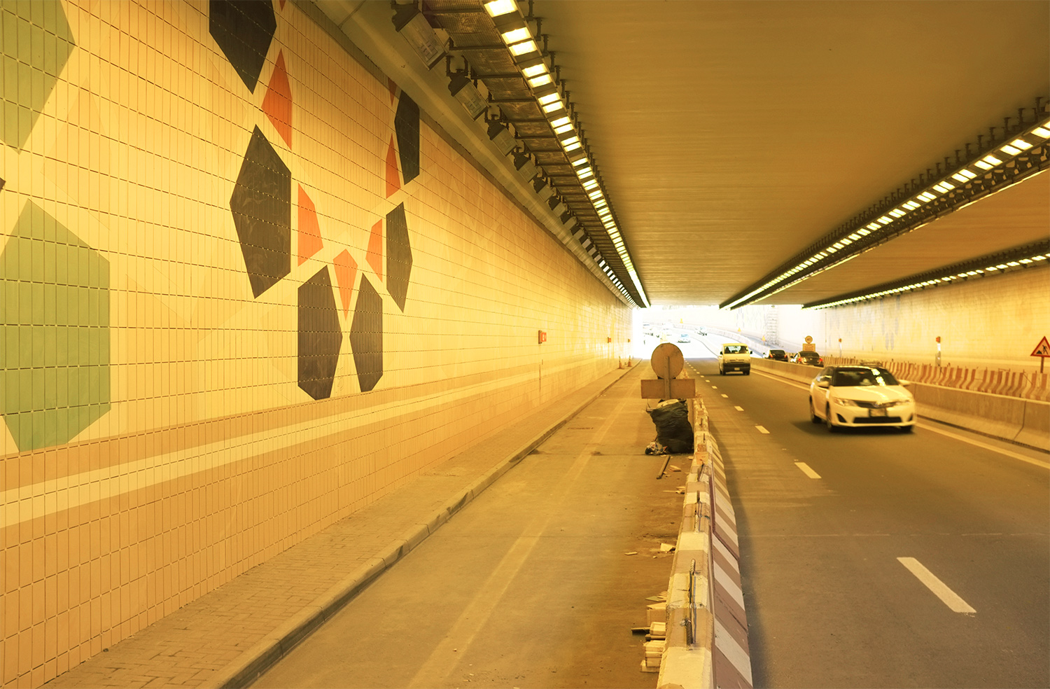 Mashrabiya tiling pattern    West Underpass connecting DIFC and Business Bay, Dubai   Research image
