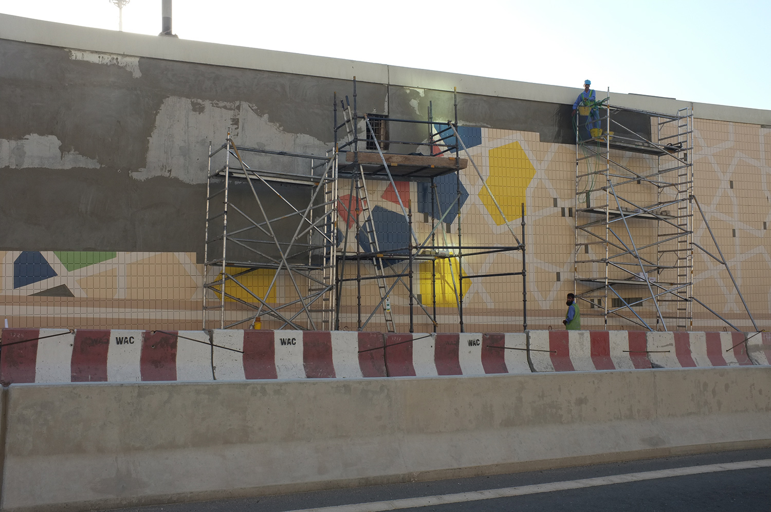Mashrabiya pattern tiling work  West Underpass connecting DIFC and Business Bay, Dubai  Research image