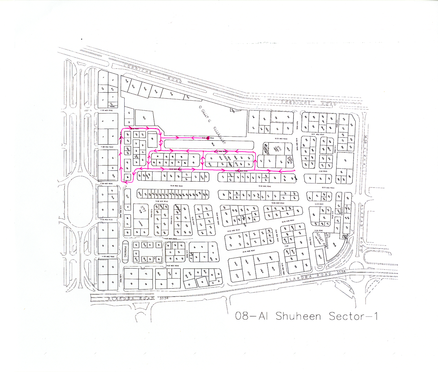 Remapped Sweeper Route - ID 1823 , 2016 Ballpoint ink on copy paper 29.7 x 35 cm