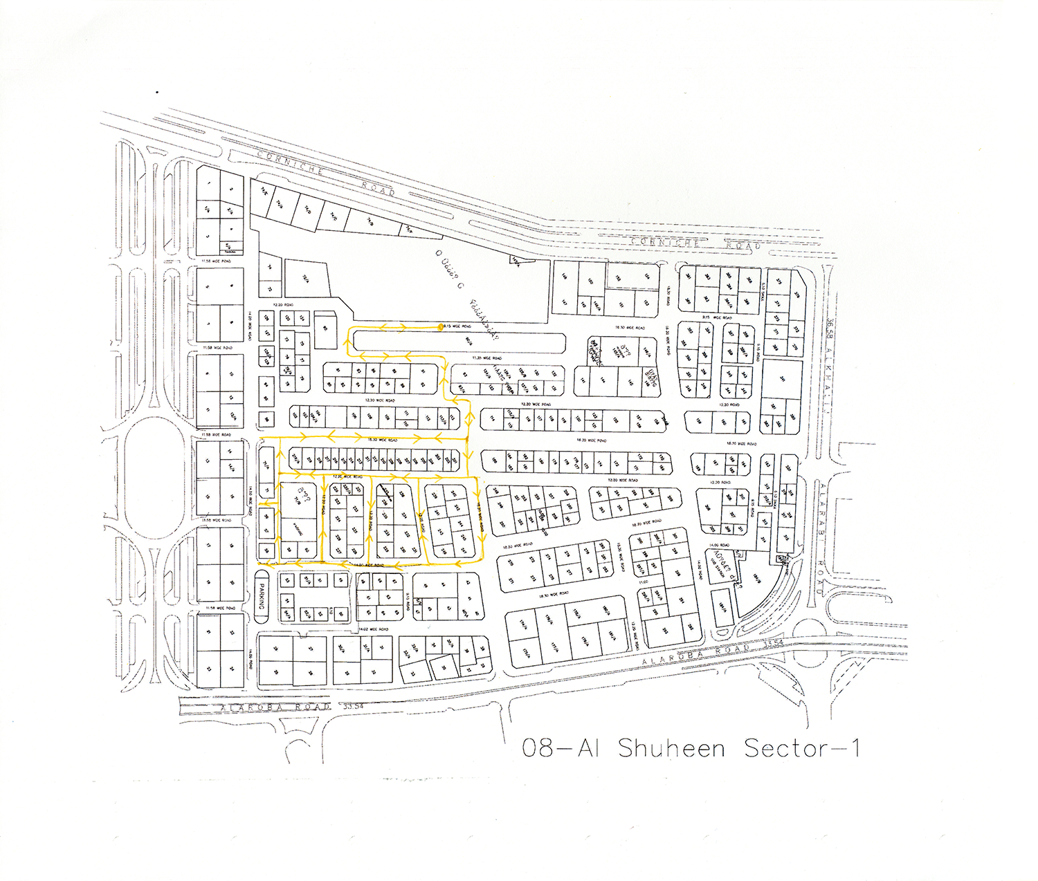 Remapped Sweeper Route - ID 607 , 2016 Ballpoint ink on copy paper 29.7 x 35 cm