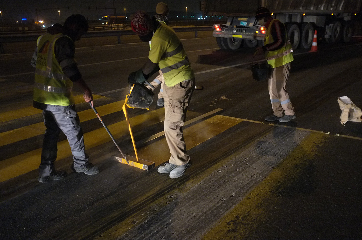 Road Marking crew  Jabal Ali-Lehbab Road, Dubai