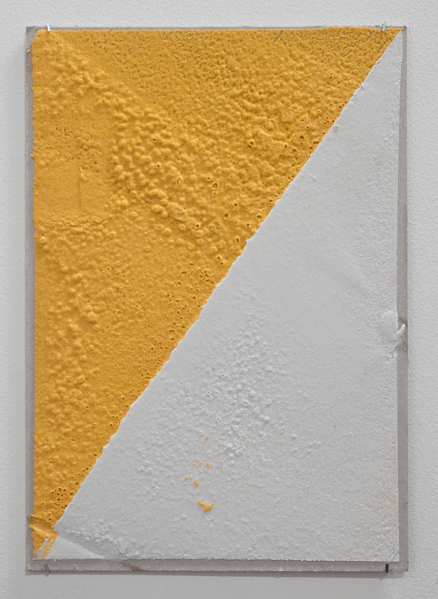 300 (W), 2 mm (T), Yellow, White, Random Mark, Hand Marking, Al Barsha South, Unnamed Street , 2017  Thermoplastic paint and reflective glass particles on grey board  35 x 50 cm