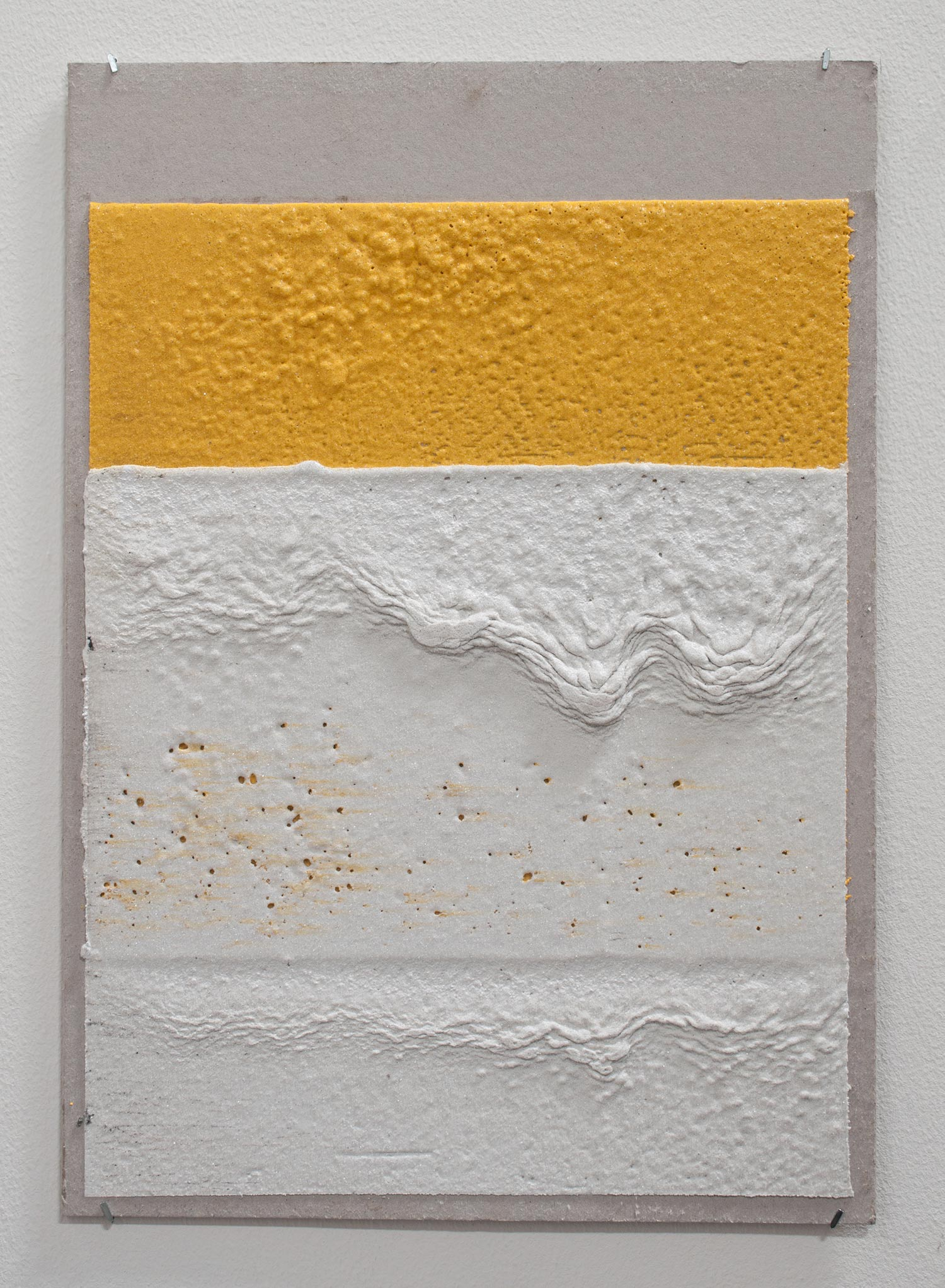 300mm (W), 2mm (T), Yellow, White, Random mark, hand marking, Al Barsha South, Unnamed street,  2017  Thermoplastic paint and reflective glass particles on grey board  35 x 50 cm