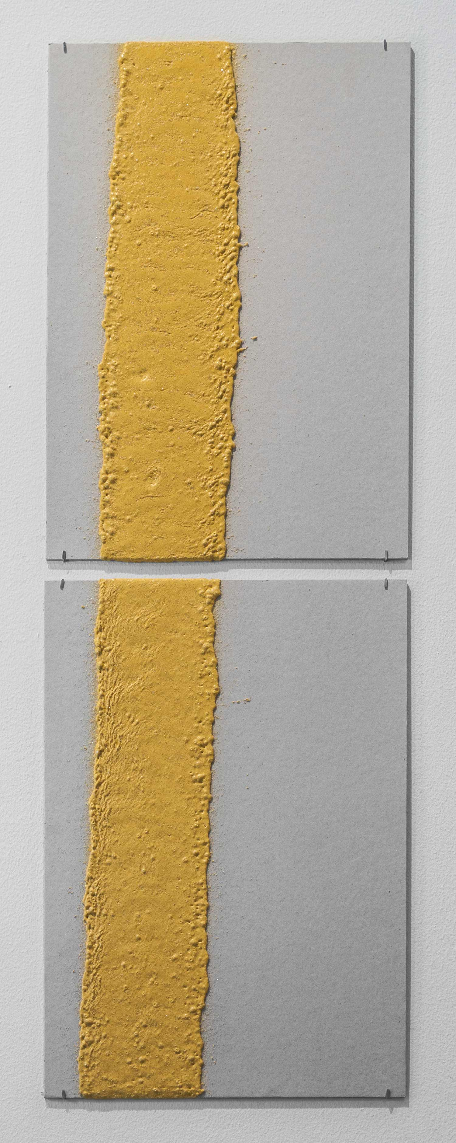 100mm (W), 1.5mm (T), Yellow, edge line (613), machine marking, Al Khawaneej 1, St 120,  2017  Thermoplastic paint, reflective glass particles and grey board  Diptych: 50 x 35 cm each