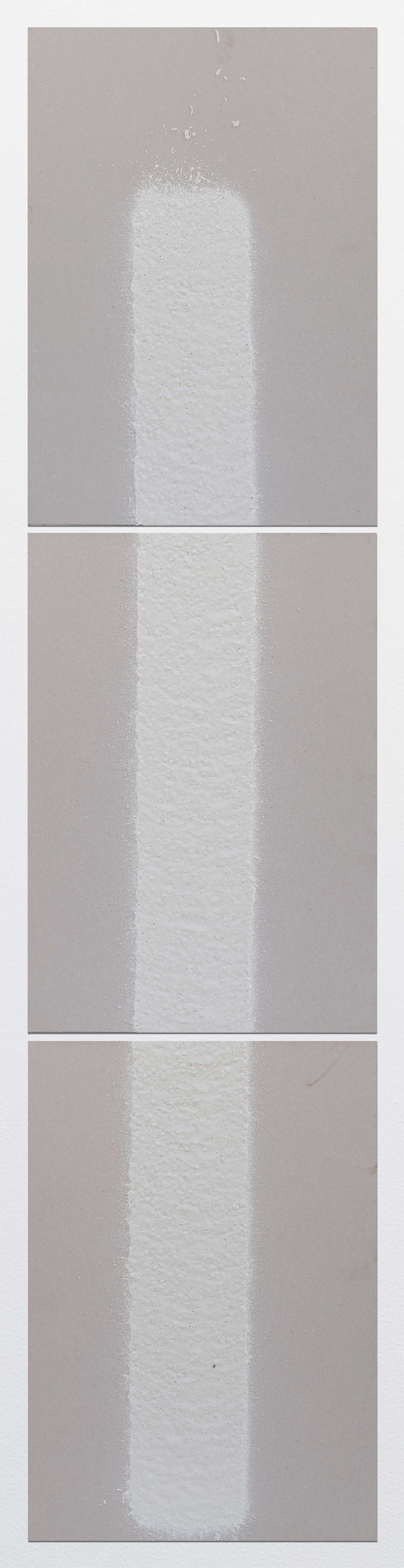 100mm (W), 1.2mm (T), White, Parking envelope line (620), 1000mm (L), Al Barsha 1, St 25b,  2017  Set of 3 works Thermoplastic paint and reflective glass particles on grey boards 50 x 35 cm each