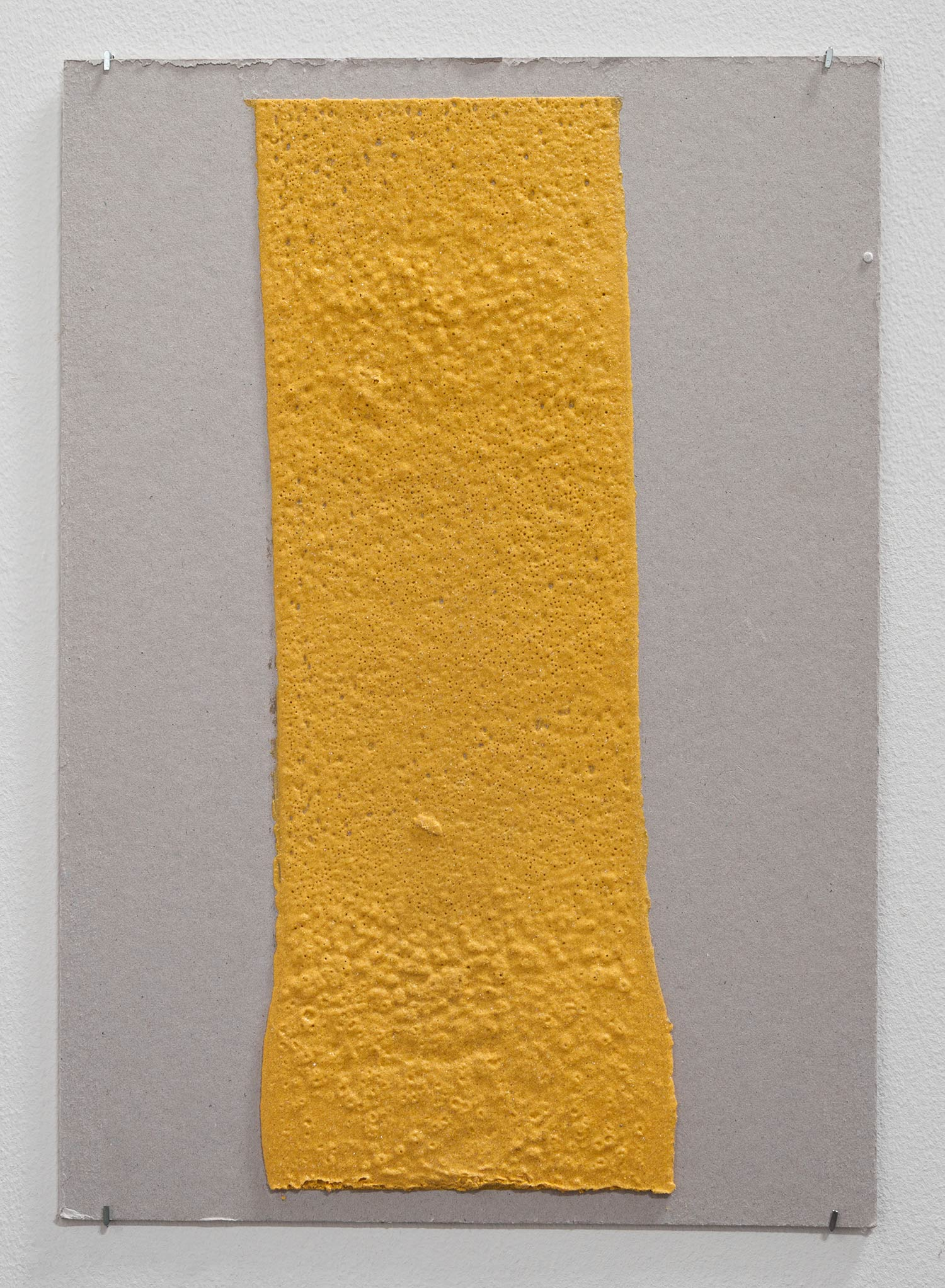 150mm (W), 1.5mm (T), Yellow, Random mark, hand marking, Al Barsha South, Unnamed street,  2017  Thermoplastic paint and reflective glass particles on grey board  35 x 50 cm
