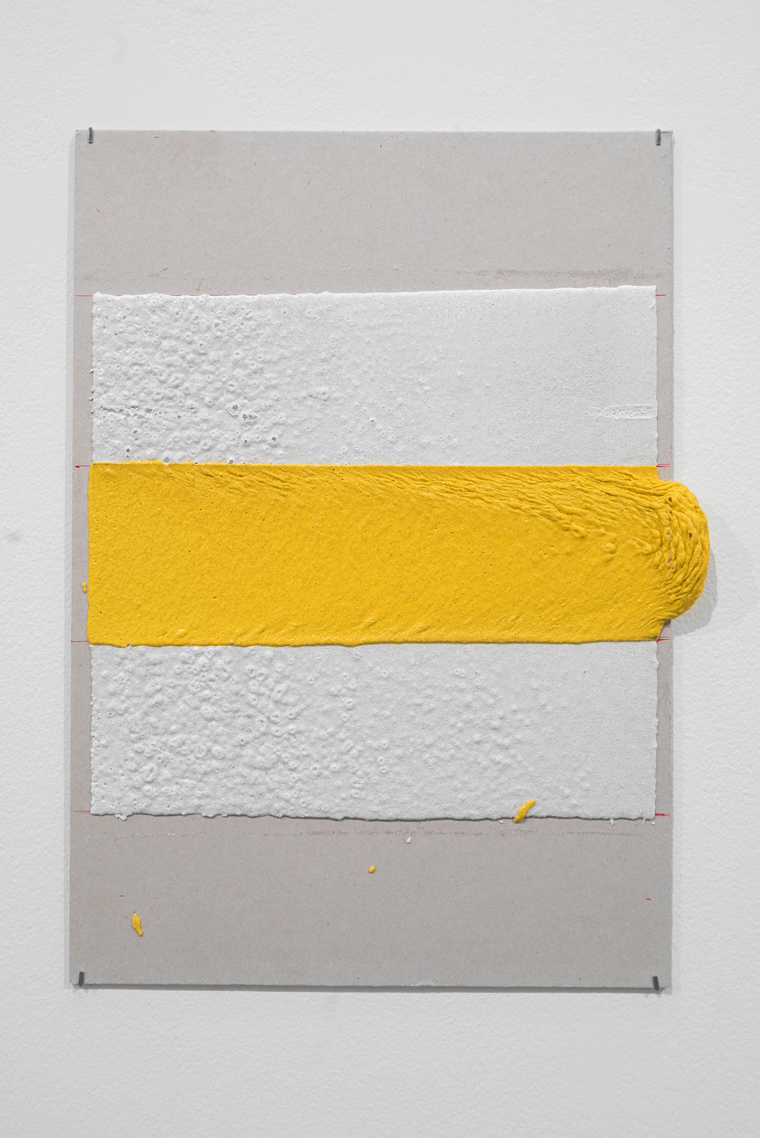 300mm (W), 100mm (W), 1.5mm (T), White, Yellow, Random mark, hand marking, remarking, Al Barsha South, Unnamed street,  2017  Thermoplastic paint and reflective glass particles on grey board  35 x 50 cm