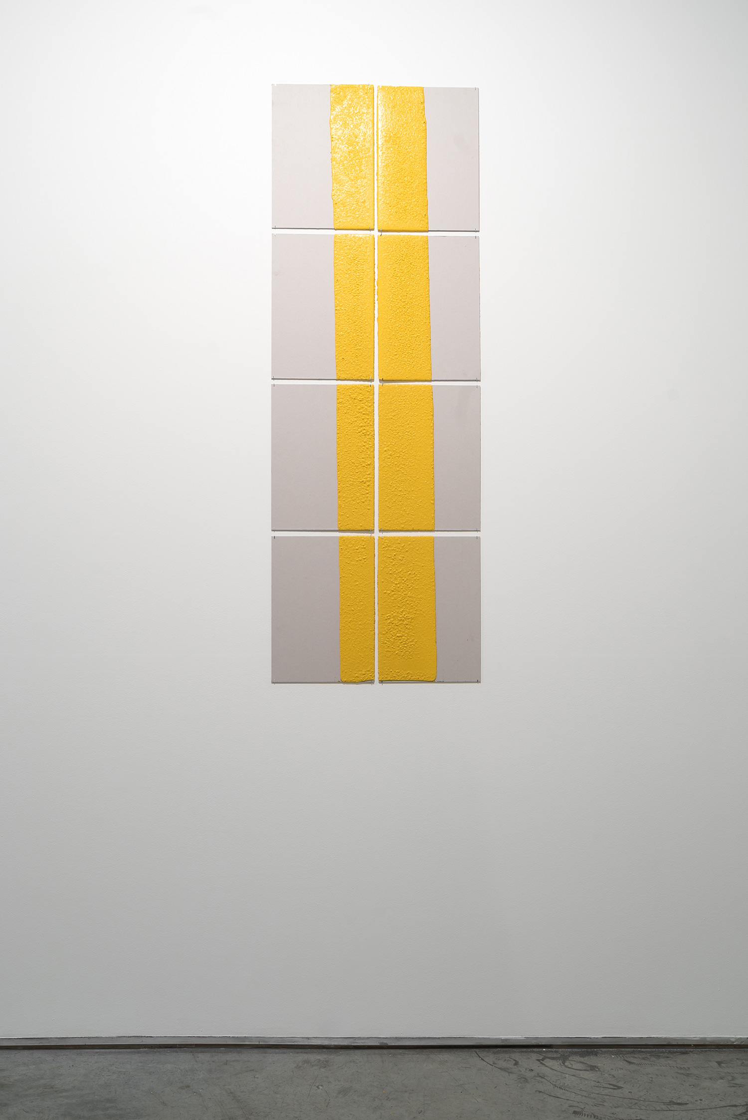 300mm (section) (W), 5mm (T), Yellow, Rumble strips warning marking (650), hand marking, remarking, E44 Al Awir Road, LP ?,  2017  Set of 8 works  Thermoplastic paint and reflective glass particles on grey boards  50 x 35 cm each