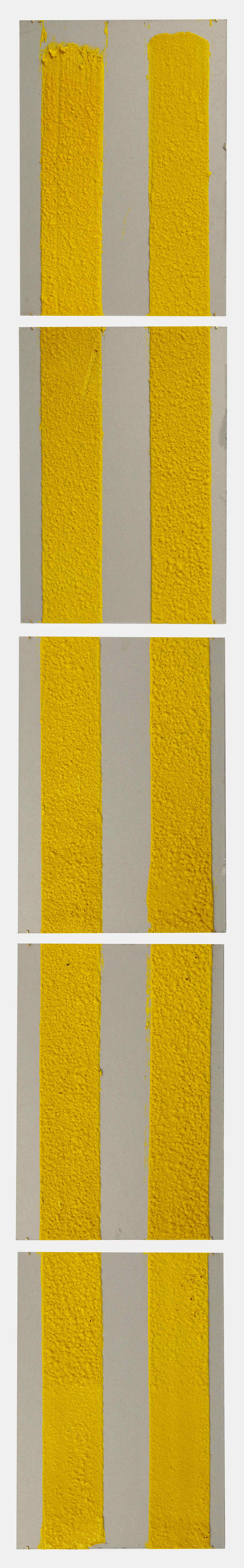 4in (section) (W), 2.27mm (T), Yellow, Double Yellow continuous, Manual marking, Lewis St, Btw Delancey St - Grand St,  2018  Set of 5 works Thermoplastic paint and reflective glass particles on grey boards 50 x 35 cm each