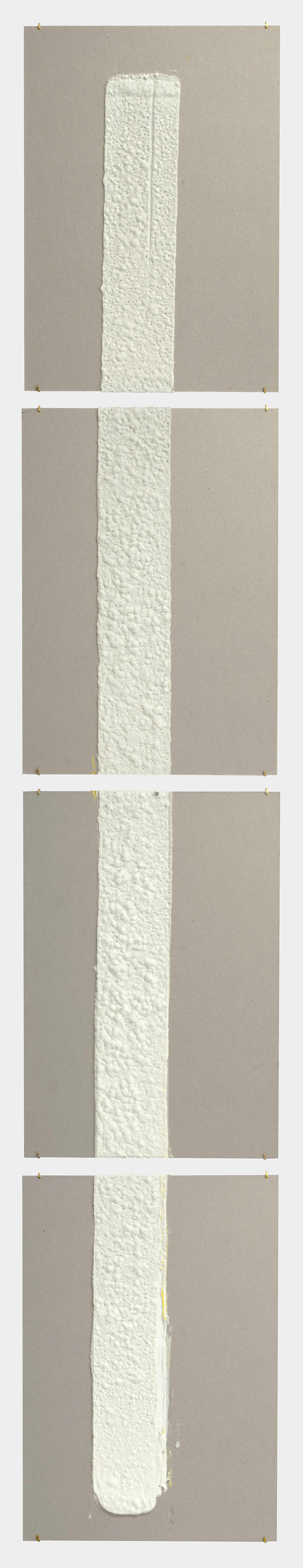4in (section) (W), 2.27mm (T), White, Skips, Manual marking, Lexington Ave, Btw E77 St - E78 St,  2018  Set of 4 works Thermoplastic paint and reflective glass particles on grey boards 50 x 35 cm each