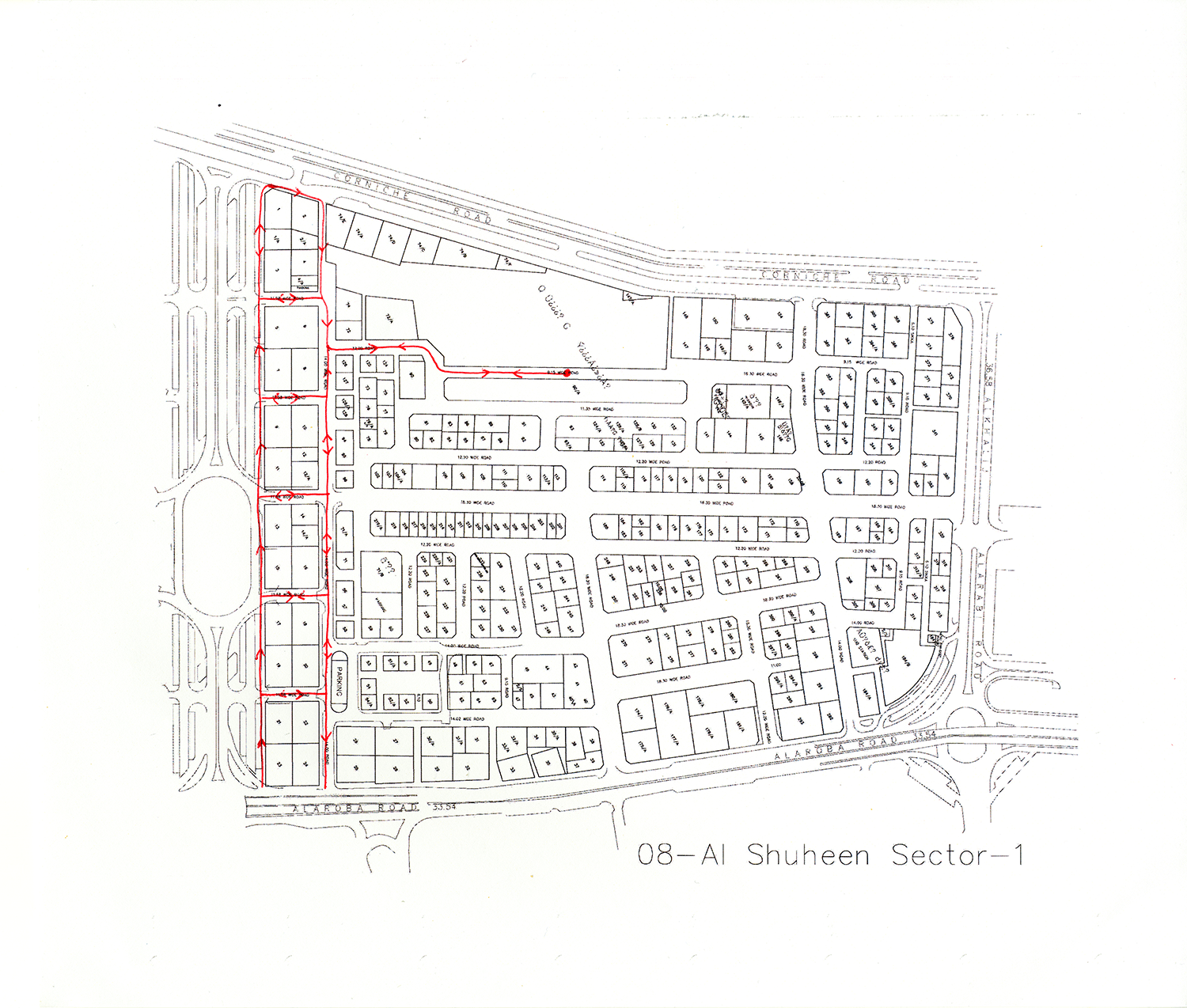 Remapped Sweeper Route - ID 1824 , 2016 Ballpoint ink on copy paper 29.7 x 35 cm
