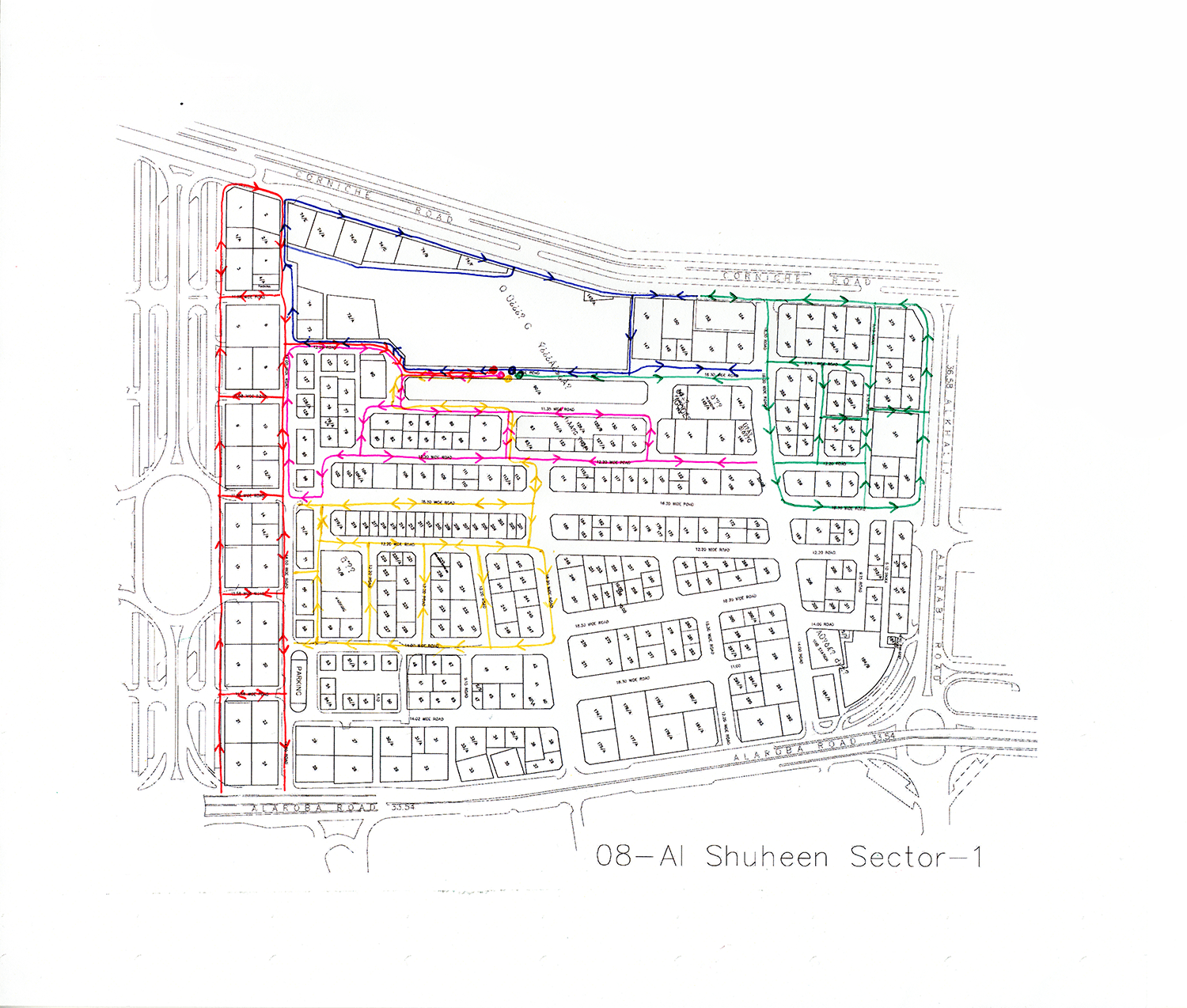 Remapped sweeper routes on sector map  Ballpoint ink on copy paper  Map courtesy of Bee'ah
