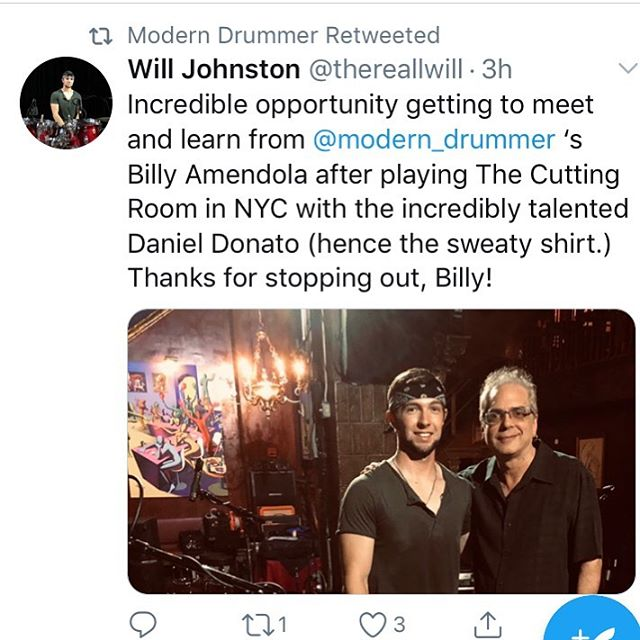 Thanks for the retweet @modern_drummer ! Billy, you the man...thanks for hanging.