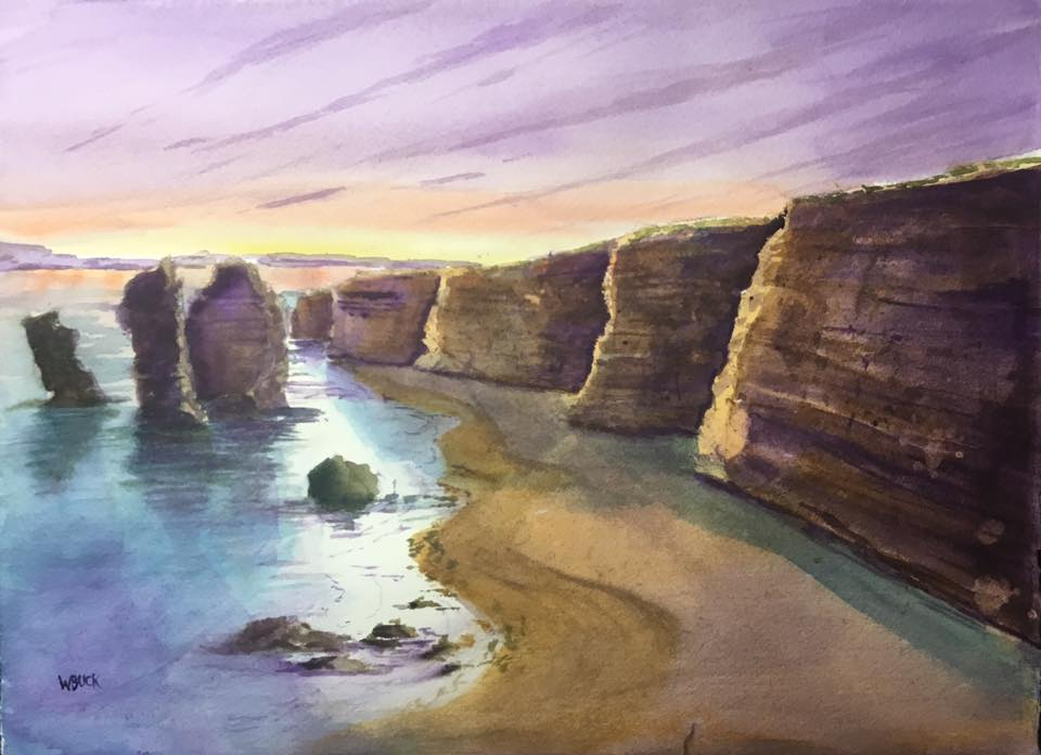 """This image is titled """"Twelve Apostles"""".  The limestone cliffs are magnificent setting and majestic at sunset.  I completed this one in June 2019."""