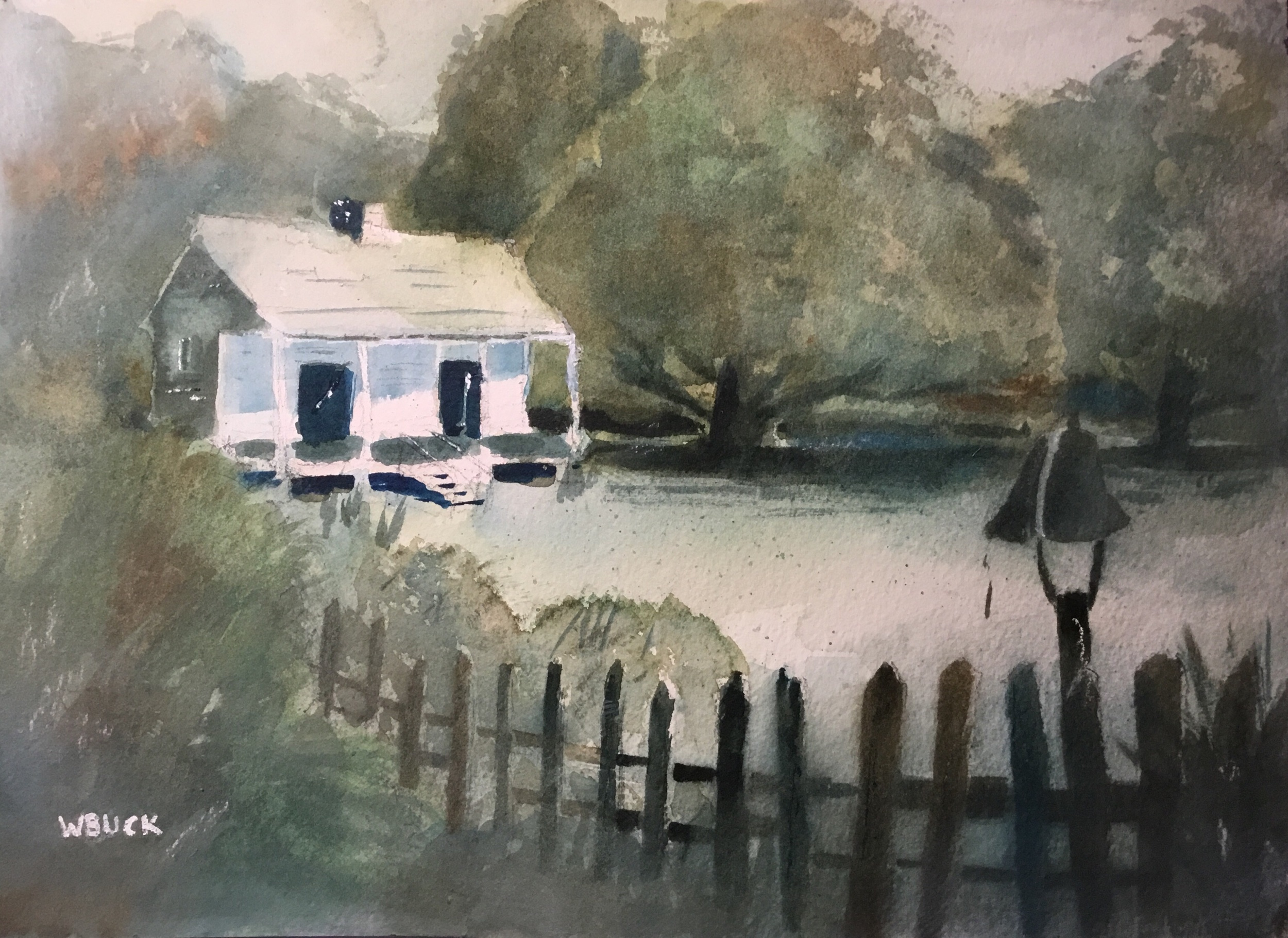 The Cabin, 300# Arches Cold Press, 12x16 inch.  Watercolor with Gesso glazing.