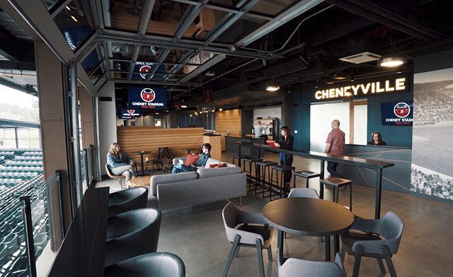 A thumbnail grab from a recent shoot with @ferguson.arch at @tacomarainiers Cheney Stadium! The space itself is unlike anything I've ever seen, particularly because it's used as an office during the day, and a clubhouse bar at night. Can't wait to show y'all the video! Also, see that couch? Home plate is in direct view! ✨ #architecturalcinematography #architecture #visualstorytelling