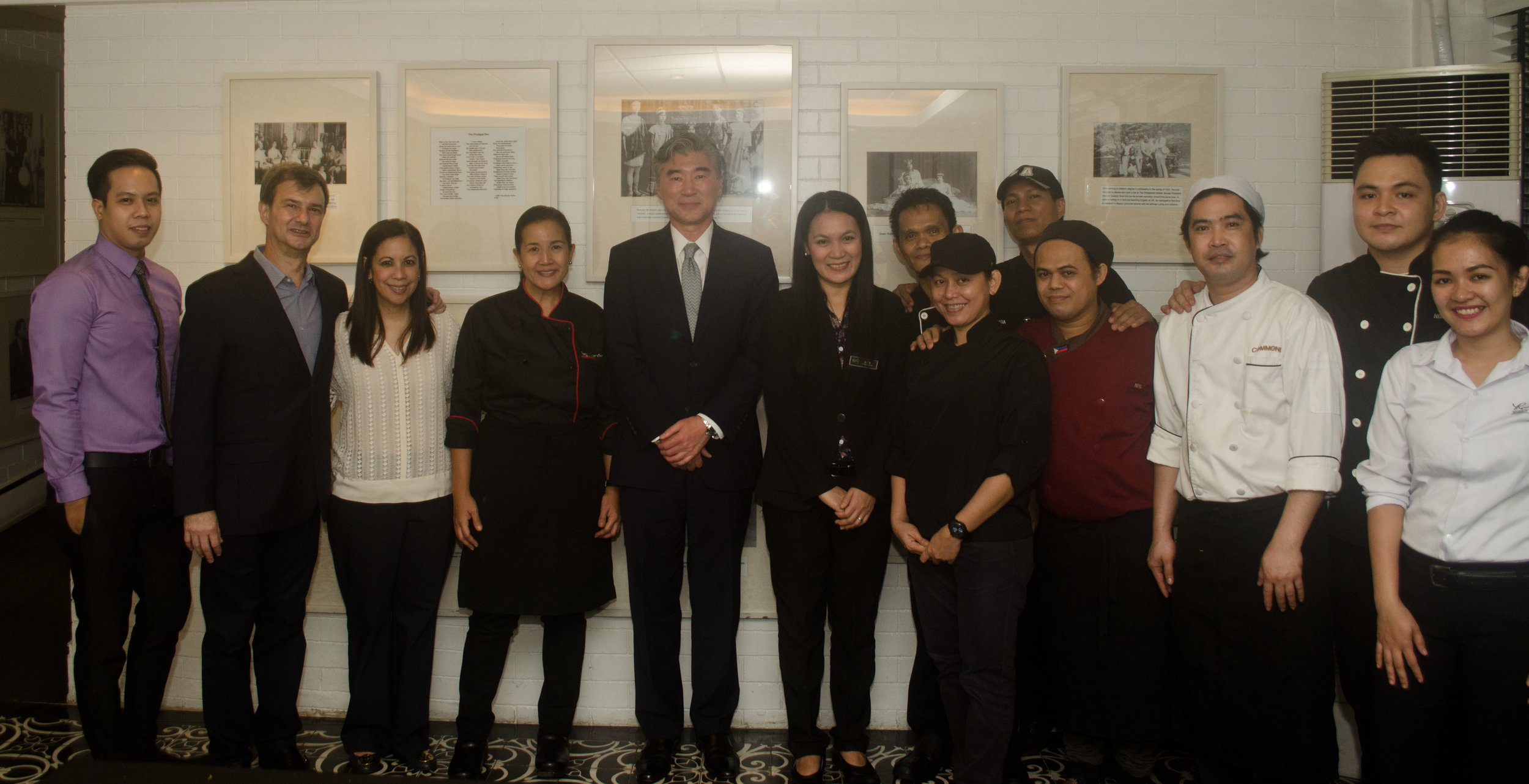 Romulo Café Jupiter staff with US Ambassador to the Philippines Sung Y. Kim
