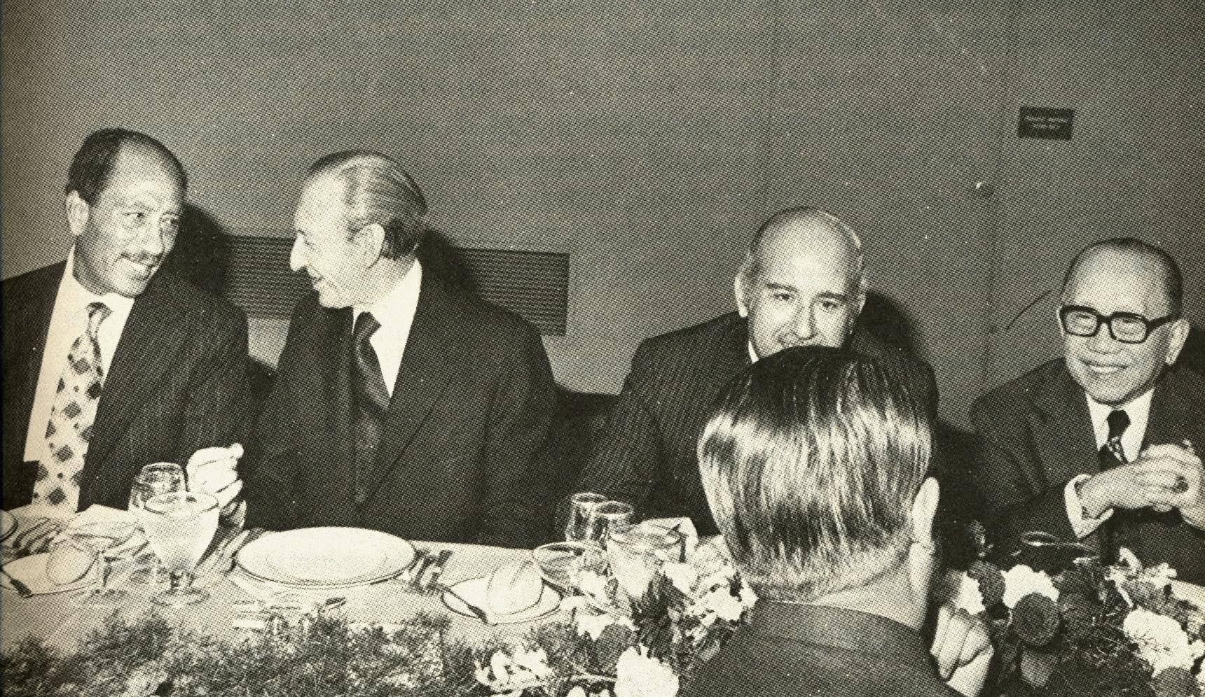 With Egyptian Pres. Anwar Sadat and Kurt Waldheim