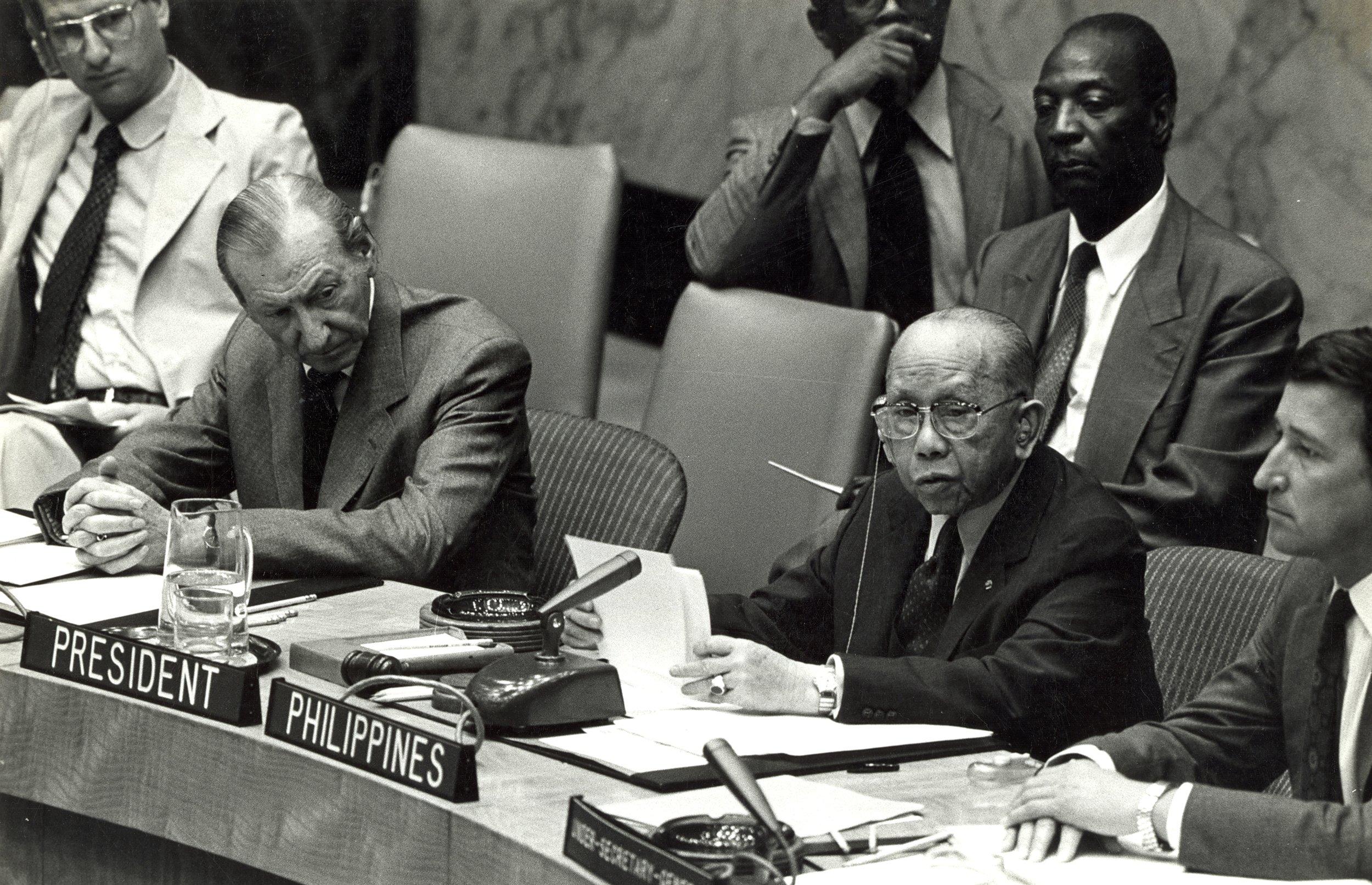 UN Sec. Council Pres CPR and UN Sec-Gen Kurt Waldheim