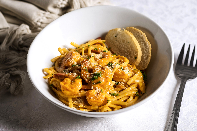 Spaghettini with Shrimp and Aligue Sauce