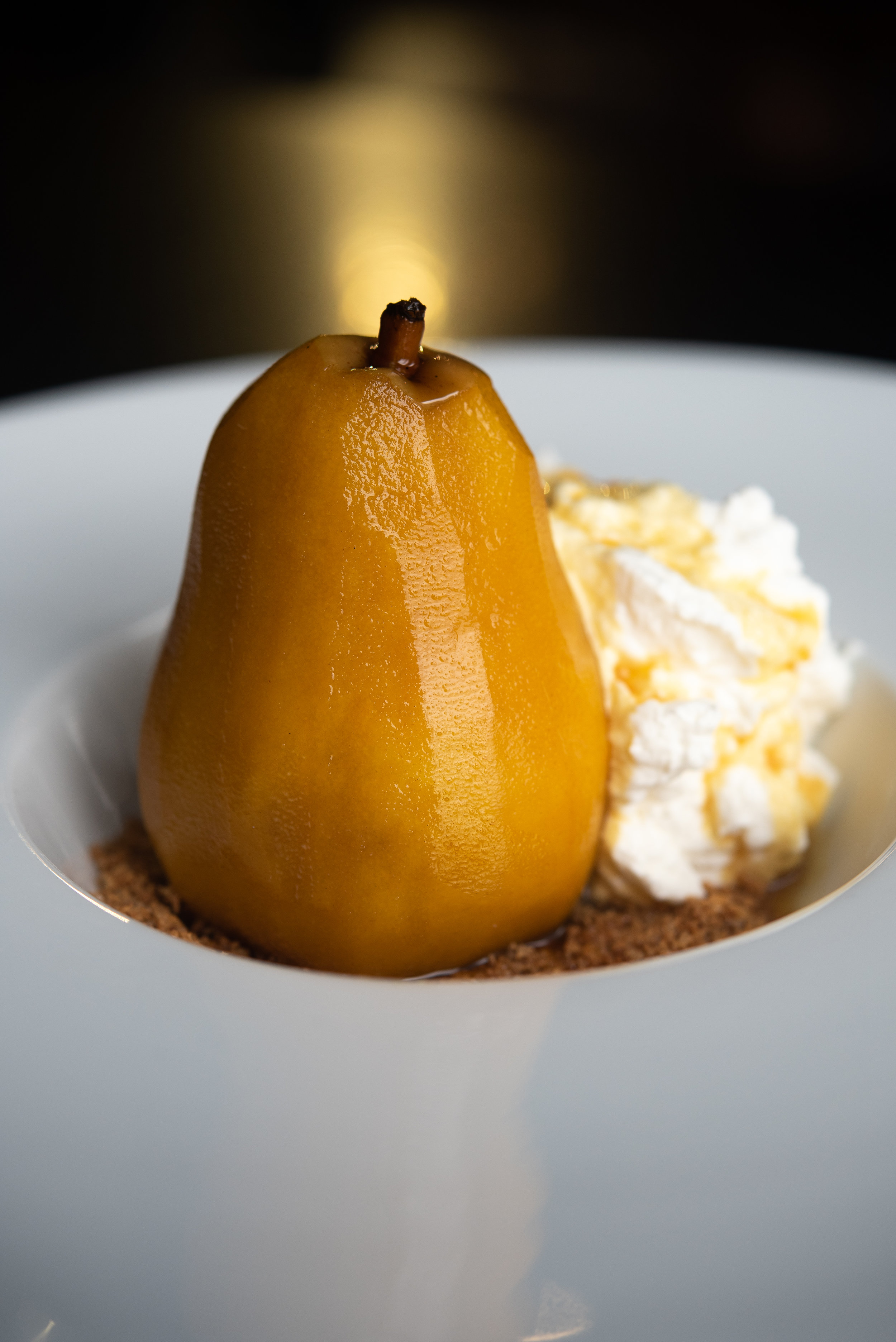 Poached Pear – Saffron Glaze, Brown Butter Crumble, Whipped Cream_9.20.18__Chip Klose2.jpg