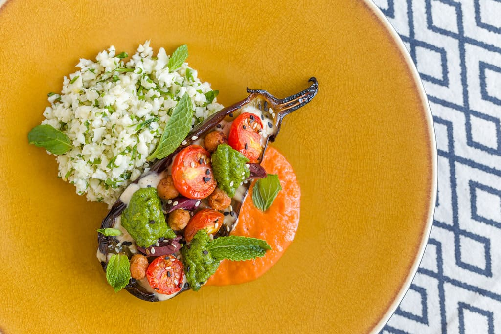 Eggplant Chermoula with Cauliflower Couscous, North African Flavors and Harissa_h.jpg