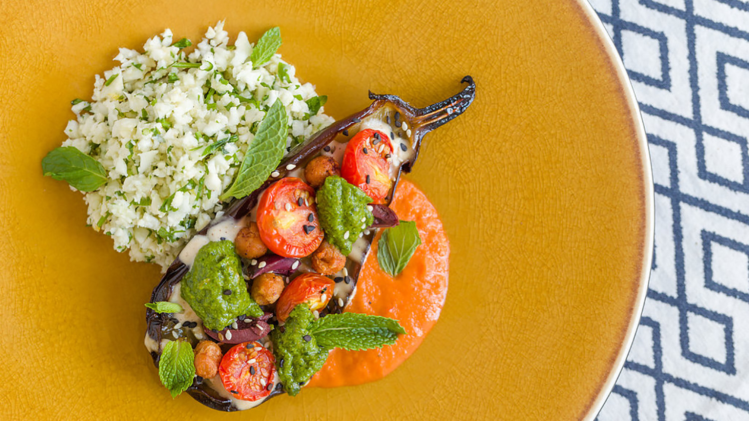 Eggplant Chermoula with Cauliflower Couscous, North African Flavors and Harissa_r.jpg